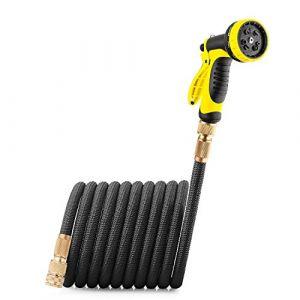 GroHoze Extensible Connecteur De Cuivre Solide Tuyau D'arrosage avec 10 Modèle Pistolet - 75FT(23M) Noir (Tengno1, neuf)