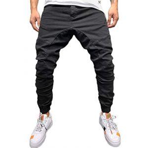 Tomwell Homme Pantalon Casual Cargo Chino Jeans Sport Jogging Slim Fit Pantalon Coton Noir Small (Joke and I, neuf)