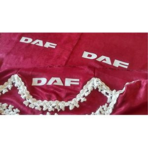 Lot de 3Rouge Rideaux Blanc avec franges Taille universelle pour tous les modèles Camion DAF XF CF LF Accessoires Décoration Tissu Peluche (krisinox ltd, neuf)