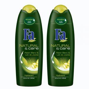 Fa - Natural & Care - Raisin Blanc et Lait de Jojoba - Gel Douche - Flacon 250 ml - Lot de 2 (produits discount, neuf)
