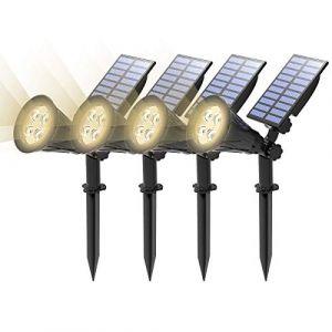 (4 Pack)T-SUN Lampe Solaire Extérieur, Solaire Projecteur, Extérieur sans Fil Etanche IP65 Lampe Jardin avec 180° Réglable Spot Solaire Extérieur pour Jardin, Cour, Chemin, Allé. (4000K Blanc Natuiel) (T-SUNLED, neuf)
