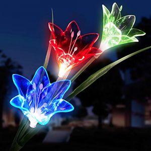 Extérieur Lampes Solaires de Jardin Lily Fleur Multicolore Changer LED Lampes Étanche solaires pour Jardin, Terrasse?1 Pack? (jianshe store, neuf)