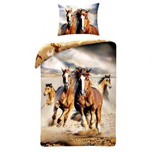 Horse Riding Parure de lit individuel avec housse de couette 140 x 200 100%  coton 92bba619f80f