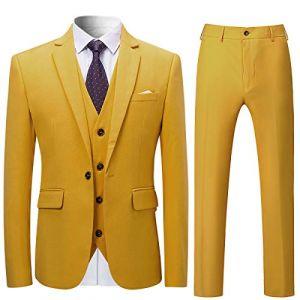 Costume Homme 3 Pcs Costard Blazer Veste et Pantalon Gilet Mariage Party Smoking, Jaune, L (Allthemen, neuf)