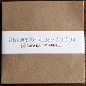 Lot de 20 enveloppes Kraft (mouchetées) 15,5 x 15,5 cm pour faire-part et vœux (Les faire part de Gaspard, neuf)