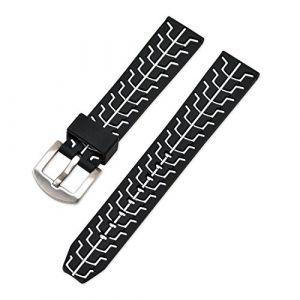 Ullchro Bracelet Montre Remplacer Silicone Bracelet Montre TextuRouge - 20, 22, 24mm Caoutchouc Montre Bracelet avec Acier Inoxydable Boucle Argent (22mm, Blanc) (Ullchro-EU, neuf)