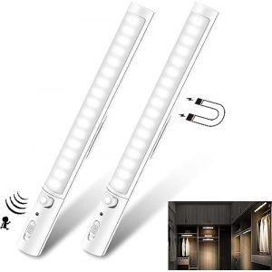 Lumière de Placard, Lampes 21 LEDs, Sans Fil, Aimanté, Détecteur de Mouvement, 3 Modes d'Éclairage, Portable, Baladeuse de Secours, Veilleuse Enfant [Lot de 2] (Nubeln, neuf)