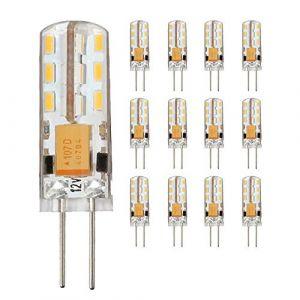 Lot de 12 ampoules LED G4 1,5 W 3 W 4 W 4,5 W 12 V Angle d'éclairage 360° Blanc chaud 3000 K, Ac Dc 1.5w, G4, 1.50W, 12.00V (Chao Zan Maoyi, neuf)