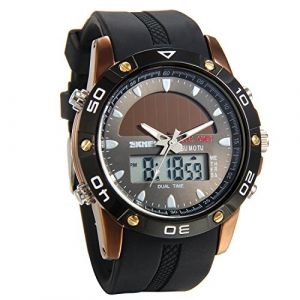 Montre Homme Avaner Montre Bracelet Cadran Salaire- Afficahge Analogique et Digital -Bracelet en Silicone Montre Etanche Chronomètre Bracelet Montre Noir (Avaner Watch, neuf)