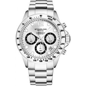 Stührling Original - Montre chronographe pour Homme, Bracelet en Acier Inoxydable avec Couronne vissée et étanche à 100 M. Mouvement à Quartz avec Cadran analogique (Silver) (Timeworks International, neuf)