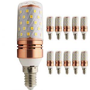 Ampoule LED or rose en forme d'épi de maïs E14 8 W équivalent à 80 W, 800 lm, CRI>80 + , petite vis Edison, non compatible avec variateur d'intensité, blanc chaud, E14, 8.00W, 220.00V (ShenShuai Official store, neuf)