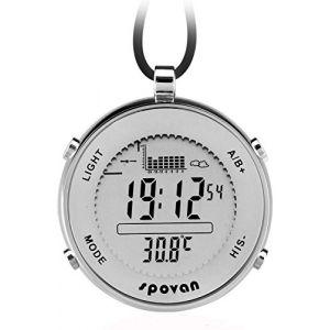 Spovan Hommes Argent Altimètre Baromètre Thermomètre Quartz Montres de Poche (Findtime watch, neuf)