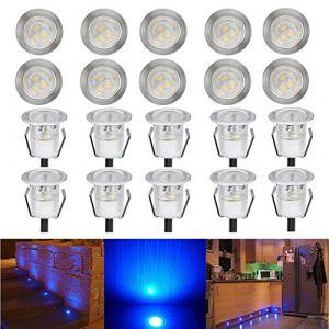 Lot de 20 Spot Encastrable LED Lampe Extérieur Eclairage encastré IP67 12V Acier inoxydable, Étanche luminaire Déco pour Chemin Jardin Terrasse Escalier Etape - Ø30mm 0.6W, Bleu (CHENXU, neuf)