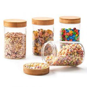 EZOWare Boîte Bocaux de Rangement en Verre Borosilicate Alimentaire Conservation avec Bambou Bois Couvercle Hermétique, 1500ml, Lot de 4 (BlueMall_France, neuf)
