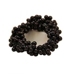 Pearl Headwear ÉLastique Cheveux Bandswith Caoutchouc Corde Anneau Tie Cheveux Accessoires, Noir (ECYC ®, neuf)