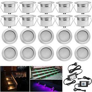 Lot de 20 Bluetooth RGBWW LED Spot Encastrable Extérieur, Ø45mm Dimmable Mini spot Lampe au Sol Spot Encastrable, Etanche IP67 DC12V Spot Piscine Spot Escalier pour Terrasse Bois (RGB+Blanc Chaud) (MeiMai, neuf)