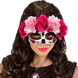 NET TOYS Masque pour Les Yeux Sugar Skull Loup avec Roses La Catrina Rose et Rouge Cagoule d'halloween Jour des Morts Masque de Mort Mexicain Masque tête de Mort Jour des Morts déguisement de Visage (palast-der-spiele, neuf)
