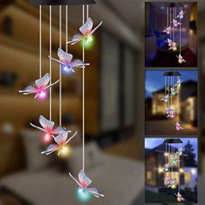 GLKEBY Solaire Carillon Éolien, Lampe de Jardin Changeante de Couleur imperméable de contrôle de la lumière, décoration de Lampe Suspendue de terrassedin Patio Porch (Butterfly) (Facaishu-UK, neuf)