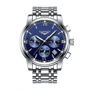 guanqin Classic Analogique Quartz Montre Bracelet élégant à quartz tendance design intemporel classique Argent Bleu Acier inoxydable (Fangcheng Store, neuf)