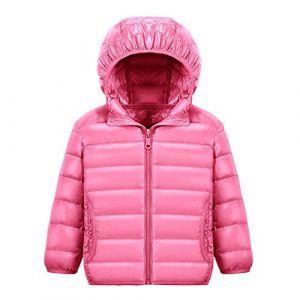 Chic-Chic Blouson Manteau Léger Enfant Garçon Fille Doudoune à Capuche - Veste à Manches Longues Sport bébé Ski Vêtement 13-14ans Pink (shadow791015, neuf)
