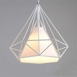 Tobaling Lustre Suspension E27 Cage en Fer Forme Diamant avec Douille Eclairage pour Décor Restaurant Salle Chambre (BLANC, M<38CM>) (Tobaling, neuf)