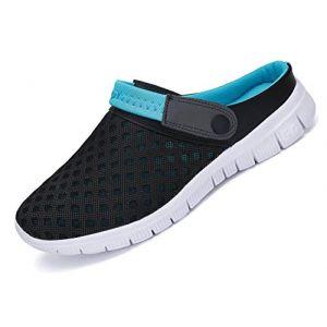 Mules Homme Femmes Pantoufles Été Chaussures de Jardin Sabots Respirant Sandales de Plage Piscine Chaussons Bleu 47 (BAIBANG, neuf)
