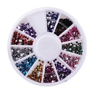Holzsammlung 1 Boîte de Petit Strass Decoration Ongles Gel Tip Glitter rond Coloré en Résine pour Nail Art Manucure #2 (collecte de bois, neuf)