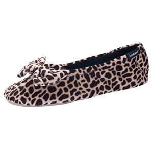 Chaussons FEMME Velours - grand noeud Isotoner 35/36 EU, Girafe (Isotoner - Boutique Officielle, neuf)