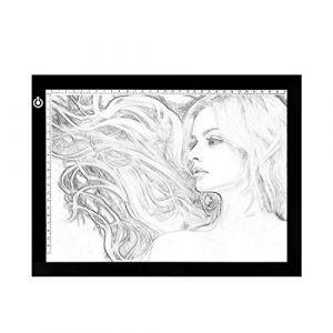 A4 Tablette Lumineuse, Ultra Mince Alimentation Luminosité Réglable Tablette De Dessin À LED, Mémoire Magnétique Touche Tactile Tablette Dessin Lumineuse Pad Pour Dessin, Calligraphie, Sérigraphie (DarrensEU, neuf)