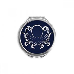 DIYthinker vie octopus noir blanc marine motif miroir rond maquillage de poche à la main portable 2,6 pouces x 2,4 pouces x 0,3 pouce Multicolore (bestchong, neuf)