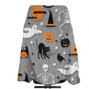 Motif d'Halloween Orange Gris Crâne Coupe de Cheveux Cape Imperméable Anti-Tache Cheveux Tablier Anti-Statique Durable 55 '' X 66 (Agnes Carey, neuf)