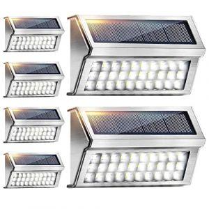 Lampe Solaire Extérieur 6 Pack 30 LED Onshida, Lumière Solaire Étanche en Acier Inoxydable Éclairage Solaire Lampe de Sécurité sans Fil Lampe Mural Spot Solaire pour Jardin Terrasse Escalier Patio (YFEU, neuf)