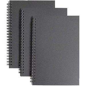 Coque Souple de dessin à spirales -3 Lot vierge Carnet de croquis Pad, Cahier à spirale Memo bloc-notes Agenda Journal, 100 pages/50 feuilles, 21,1 x 14,5 cm 3Pack-Black (YANGTE FR, neuf)