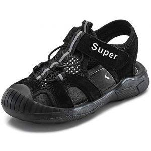 Gaatpot Enfant Sandales et Nu-Pieds Bout Fermé en Cuir Bébé Sport Chaussure Sandales de Randonnée d'été pour Garçon Fille Noir 28.5 EU/29 CN (Cotouke, neuf)