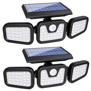 Lampe Solaire Exterieur Detecteur de Mouvement, 74 LED IP65 Etanche Projecteur Solaire à LED avec 3 Têtes, Rotation à 360 Degrés, Eclairage Solaire pour Jardin, Extérieur, Chemin, Allée, Entrée (MengHuiShangMaoYouXiangGongSi, neuf)