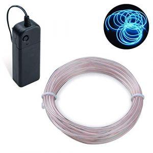 Guirlande Lumineuse LED, COVVY Neon Flexible Lumineux Décoration à piles pour Fête/Noël/Anniversaire/Soirée/Mariage, 3 Modes Éclairage avec télécommande, Imperméable Pour Intérieur (Bleu glacé, 3M) (BLUEMANGO, neuf)