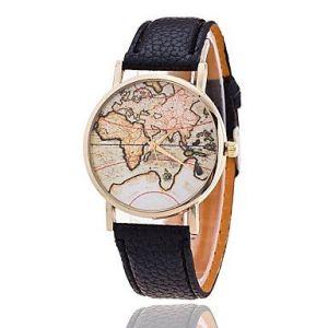 Unisexe Montre la Carte de Style du Monde/Carte du Monde Vintage/Carte Antique du Monde/Dames regardent/Femmes Faux Premium (Couleur : Noir, Taille : Taille Unique) (PANDA CHINA, neuf)