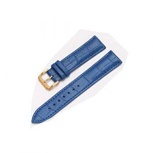 Bracelet en Cuir pour Homme Femme Remplacement Cuir Bracelet 12-22mm Bracelet de Montre ardillon Bracelet l'or Bleu,16mm (zhouhua6, neuf)