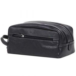 LIVAN® - L4011 - Sac Sacoche à main Vide poche à glissière - 2 soufflets - CUIR Véritable - Homme (cuir gras noir) (Starry FR, neuf)