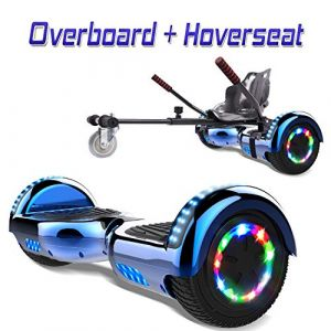 COLORWAY Overboard Hover Scooter Board Gyropode Bluetooth SUV 6.5 Pouces, Scooter Electrique Moteur 700W Tout-Terrain, Self-Balance Board avec Roues LED Flash + Hoverkart (Bleu Kar Noir) (WestMax, neuf)