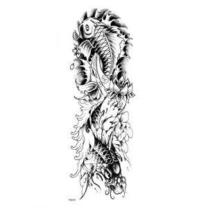 Carpe changé en dragon étanche tatouages ??temporaires hommes tatouage bras complet manches Kit tatouage tatouages ??temporaires manches faux Tatoo (QSKEU STORE, neuf)