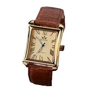SEWOR Mens mécanique automatique Montre de mode de luxe en cuir cadran carré montres-bracelets Business Gold (FYLove, neuf)