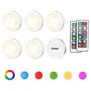 Lampe de Placard RGBW Spot LED Autocollant Murale Bawoo 6pcs Lampes Sans Fil Veilleuse Couleur Telecommande Pour Escalier Miroir Cuisine Vitrines Armoire Bibliothèque (MUJISM, neuf)