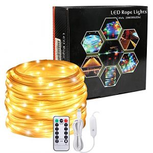 Afufu 20M Guirlande Lumineuses USB, 200 LED 5V, Etanche IP65, Blanc Chaud, Fil Cuivre, Tube LED Extérieur Décoration Noël Mariage Jardin [Classe énergétique A+] (AIMU EU, neuf)