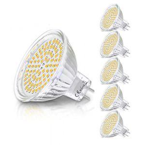 MR16 Ampoule LED Lampe Bulb, KDP GU5.3 5W Lumière LED, Equivalent 50W Ampoule Halogène Blanc Chaud 2800K 450LM AC/DC 12V Non-dimmable Spot LED (Lot de 6) (Balder Direct(Euro), neuf)