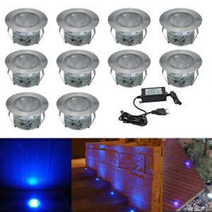 10x Spot LED Éclairage extérieur Encastrable, IP67 1W Acier inoxydable Spots à Encastrer Avec DC 12V Alimentation EU Pour Jardin Terrasse, (Bleu) (CHENXU, neuf)