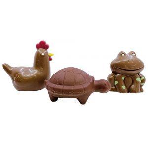 LOT DE 3 - CHOCOLAT DE PAQUES - TORTUE CANARD HIBOUX GRENOUILLE POULE 60G (lot de 3) - CHOCOLAT DE PAQUES - GOURMANDISES DE PAQUES - OEUFS EN CHOCOLAT (CHOCODIC, neuf)