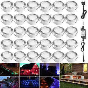 Lampe au Sol Spot Encastrable-Lumière réglable RGBW(RGB+Blanc Chaud) étanche IP67 Ø45mm-éclairage pour terrasse, patio, chemin, mur, jardin, décoration, intérieur et extérieur(Lot de 30) (INDARUN-EU, neuf)