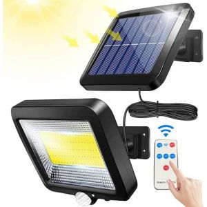 Bizcasa Lampe Solaire Extérieur, Lumière Solaire, avec Telecommande, Détecteur de Mouvement étanche, 100 LED Lampe Solaire Extérieur Puissante Étanche IPX65 pour Garage, Portail, Jardin (CHERRY-TECH, neuf)