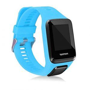 kwmobile Bracelet Compatible avec Tomtom Adventurer/Runner 3/Spark 3/Golfer 2 - Bracelet de Rechange en Silicone pour Fitness Tracker Bleu Clair (KW-Commerce, neuf)